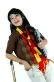 Mujer joven asiática feliz aislada en blanco Imagen de archivo libre de regalías