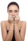 Mujer joven asustada Fotos de archivo libres de regalías