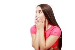 Mujer joven asustada Imagen de archivo libre de regalías
