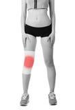 Mujer joven atlética con el vendaje elástico en su pierna Aislado Fotografía de archivo libre de regalías