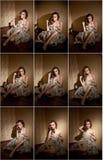 Mujer joven atractiva atractiva envuelta en un abrigo de pieles que se sienta en la habitación Retrato de soñar despierto femenin Fotografía de archivo