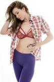 Mujer joven atractiva atractiva que presenta en Pin Up Style Fotos de archivo libres de regalías