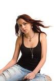 Mujer joven atractiva con de largo Fotos de archivo