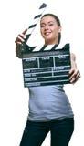 Mujer joven atractiva con la chapaleta de la película Foto de archivo