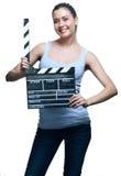 Mujer joven atractiva con la chapaleta de la película Fotografía de archivo