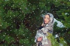 Mujer joven atractiva con una bufanda en su cabeza en el bosque cerca de abetos, el caer del invierno de la nieve Foto de archivo