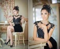 Mujer joven atractiva de moda en el vestido negro que se sienta en restaurante Presentación morena hermosa en paisaje elegante de Foto de archivo libre de regalías