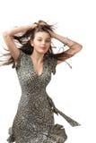 Mujer joven atractiva del baile feliz Fotografía de archivo