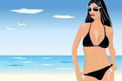 Mujer joven atractiva en bikiní libre illustration