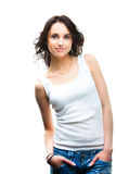 Mujer joven atractiva en blanco Foto de archivo