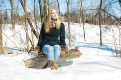 Mujer joven atractiva en el invierno al aire libre Imagenes de archivo
