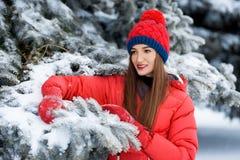 Mujer joven atractiva en invierno al aire libre La muchacha en ropa coloreada Fotografía de archivo