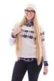 Mujer joven atractiva en ropa caliente del invierno Imagen de archivo