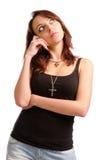 Mujer joven atractiva pensativa Fotos de archivo libres de regalías