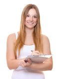Mujer joven atractiva que hace encuesta Foto de archivo libre de regalías