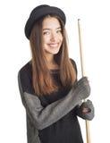 Mujer joven atractiva que lleva a cabo señal del billar Fotografía de archivo