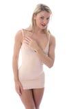 Mujer joven atractiva que presenta en Mini Dress apretado corto Fotografía de archivo libre de regalías