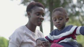 Mujer joven bonita del afroamericano lindo adorable del retrato que se sienta en la manta con su peque?o hijo en el parque E almacen de metraje de vídeo