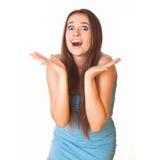 Mujer joven chocada Fotografía de archivo