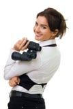 Mujer joven con binocular Fotos de archivo