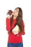Mujer joven con café y el cuaderno Imagenes de archivo