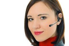 Mujer joven con el auricular Imagen de archivo libre de regalías