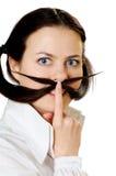 Mujer joven con el bigote Fotos de archivo libres de regalías