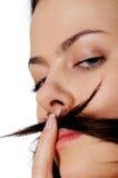 Mujer joven con el bigote Imágenes de archivo libres de regalías
