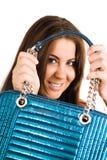 Mujer joven con el bolso Fotografía de archivo