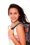 Mujer joven con el bolso de escuela Fotos de archivo