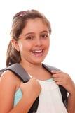 Mujer joven con el bolso de escuela Imágenes de archivo libres de regalías