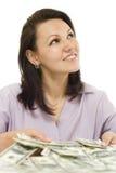 Mujer joven con el dinero Fotografía de archivo libre de regalías
