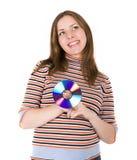 Mujer joven con el disco Imágenes de archivo libres de regalías