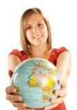 Mujer joven con el globo Fotos de archivo libres de regalías