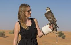 Mujer joven con el halcón del saker Imagen de archivo libre de regalías