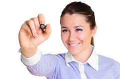 Mujer joven con el lápiz foto de archivo libre de regalías
