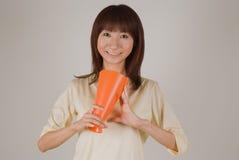 Mujer joven con el megáfono Imagen de archivo libre de regalías