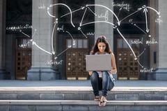 Mujer joven con el ordenador portátil que se sienta en las escaleras, cerca de universidad Foto de archivo libre de regalías