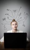 Mujer joven con el ordenador portátil sueños Fotos de archivo libres de regalías