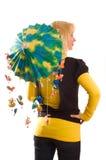 Mujer joven con el paraguas divertido Fotografía de archivo