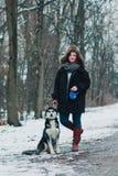 Mujer joven con el perro fornido en el parque del invierno Foto de archivo libre de regalías