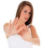 Mujer joven con el rechazo de gesto Foto de archivo libre de regalías
