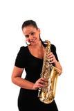 Mujer joven con el saxofón Fotos de archivo