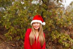Mujer joven con el sombrero de la Navidad en el bosque Fotografía de archivo