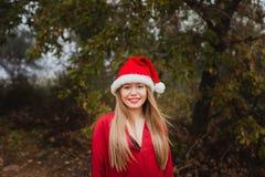 Mujer joven con el sombrero de la Navidad en el bosque Imagenes de archivo