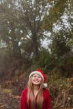 Mujer joven con el sombrero de la Navidad en el bosque Imagen de archivo