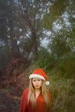 Mujer joven con el sombrero de la Navidad y los labios rojos Foto de archivo libre de regalías