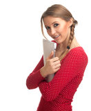 Mujer joven con el sujetapapeles Foto de archivo libre de regalías