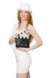 Mujer joven con el tablero de la película Fotografía de archivo libre de regalías