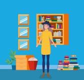 Mujer joven con el tophat que se coloca en la biblioteca stock de ilustración